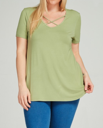 Sage Cross Front Tee (S-3XL)