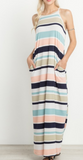 Navy + Peach Stripe Maxi (S-L)