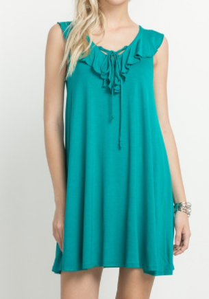 Aqua Lace up + Ruffle Dress (S-L)
