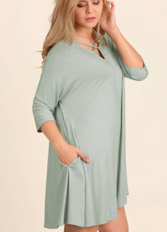 Sage Cross Front Tunic (XL-2XL)