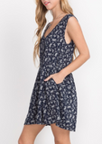 Floral Print Button-Front Dress (S-L)