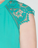 Lace Cap Sleeve Dress in Jade (S-2XL)