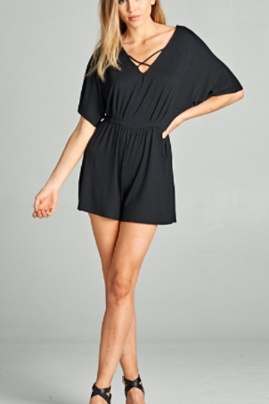 Black Criss-Cross Front Romper (1XL-3XL)