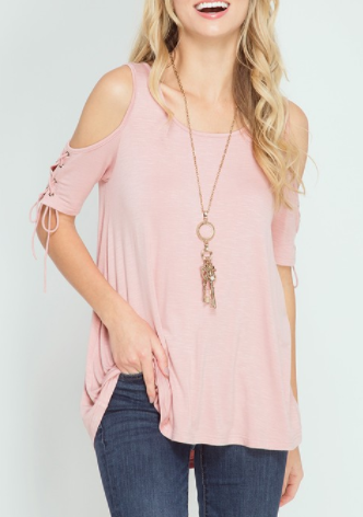 Lace-up Cold Shoulder Top (S-L)