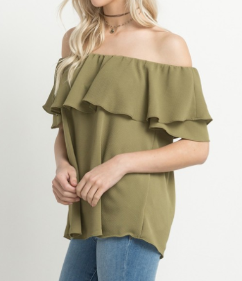 Olive Ruffle Off-The-Shoulder Top (S-L)