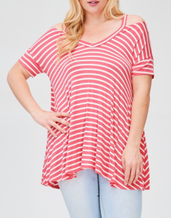 Stripe Cold Shoulder Top (1XL-3XL)