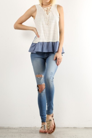 Cream Striped Top with Contrasting Hem (S-L)
