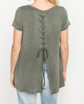 Lace-up Back Tee (S-L)