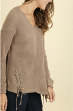 V-neck Sweater with Lace-Up Detail (XL-2XL)