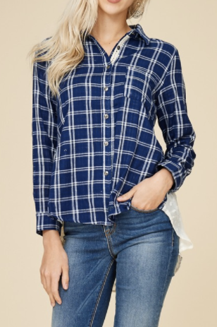 Blue Flannel with Sheer Back (S-L)