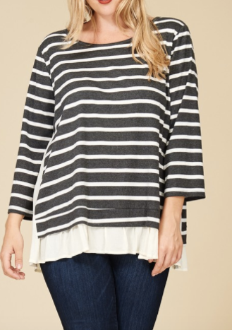 Nelly Stripe and Ruffle Sweater (1XL-3XL)