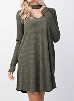 """Parker"" Olive Sweater Dress (S-L)"