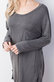 """Jaime"" Charcoal Jersey Knit Top (S-L)"