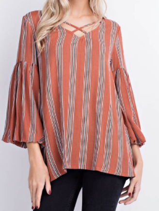 """MaryAnn"" Bell Sleeve Blouse"