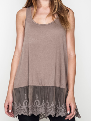 """Monica"" Lace Hem Tank Top in Mocha or Green"