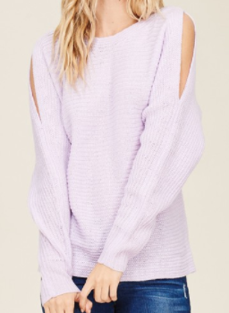 """Libby"" Lavender Cold Shoulder Sweater"