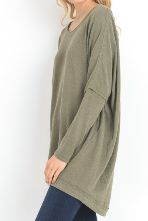 """Miranda"" Hi-Low Tunic in Olive"