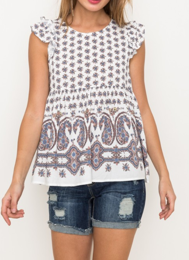 """Annalise"" Printed Babydoll Top"