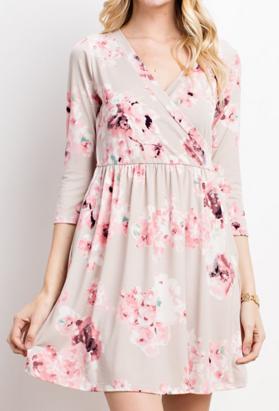 """Valerie"" Floral Faux Wrap Dress"