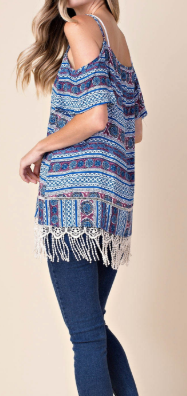 """Raya"" Cold Shoulder Fringe Top"