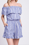 """Annie"" Striped Off the Shoulder Romper"