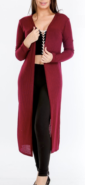 """Allison"" Ribbed Long Line Cardigan"