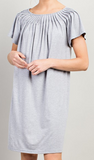 """Colleen"" Pleated Neckline Shift Dress"