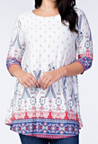 """Elaine"" 3/4 Sleeve Tunic Top"