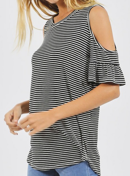 """Mindy"" Stripe Cold Shoulder Top"