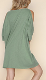 """Helen"" Open Shoulder Dress"