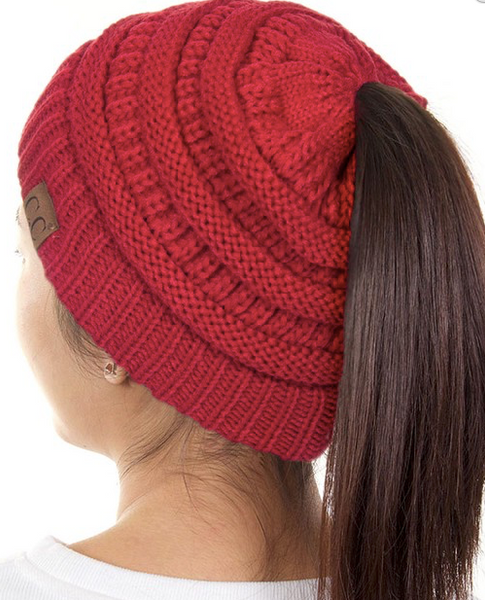 CC Pony Tail Beanie (New Olive, Pink, Black or Red)