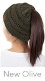 CC Pony Tail Beanie (Olive, Pink, Black or Red)
