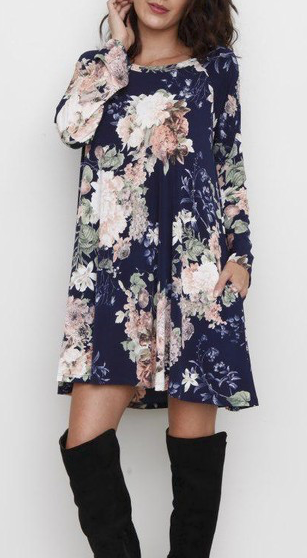 """Tasha"" A Line Floral Dress (S-3X)"