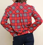 """Judy"" Knotted Plaid Top"
