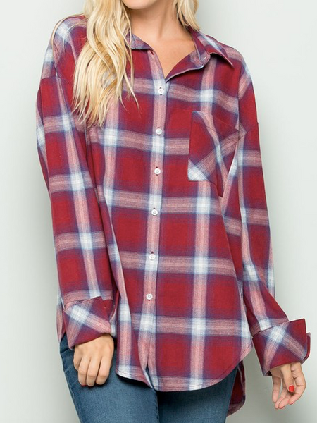 """Scarlett"" Plaid Button Down"
