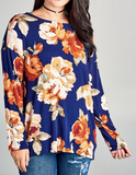 """Chelsey"" Twisted Back Floral Top"