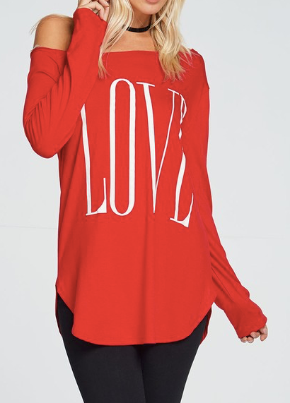 """Love"" One Shoulder Top (S-3X)"