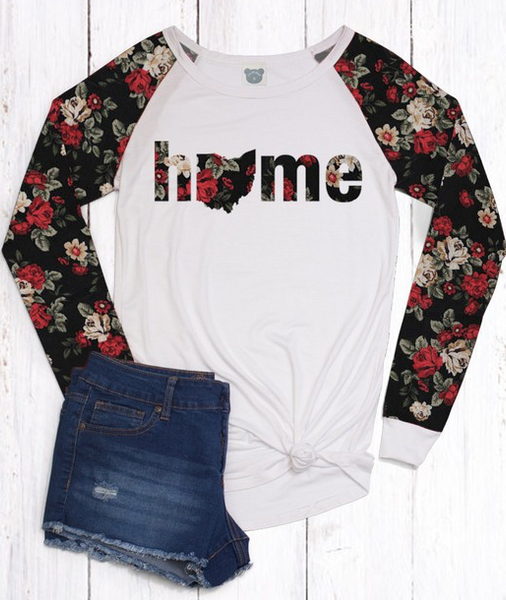 """Home"" Floral Sleeve Top (S-3XL)"