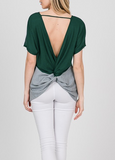 """Riley"" Twist Back Top (Mauve or Hunter Green)"