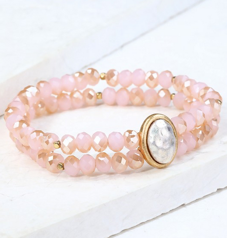 Layered Bead Bracelet (Blush or Multi Color)