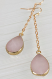Stone Tear Drop Earrings (Rose or White)