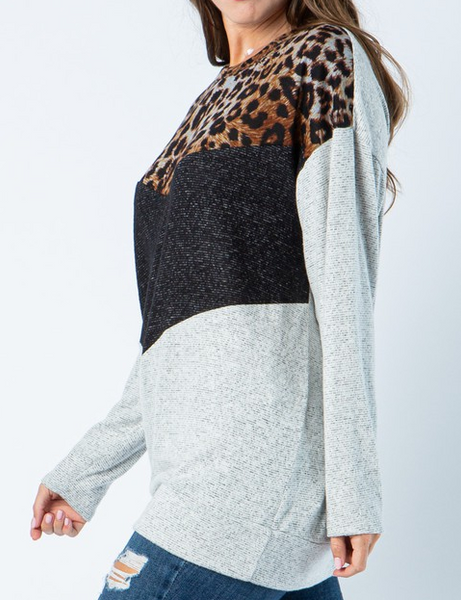 """Camila"" Leopard Color Block Sweater"