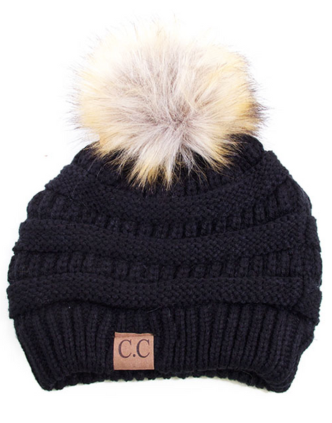 CC Pom Pom Beanie (Black or Grey)