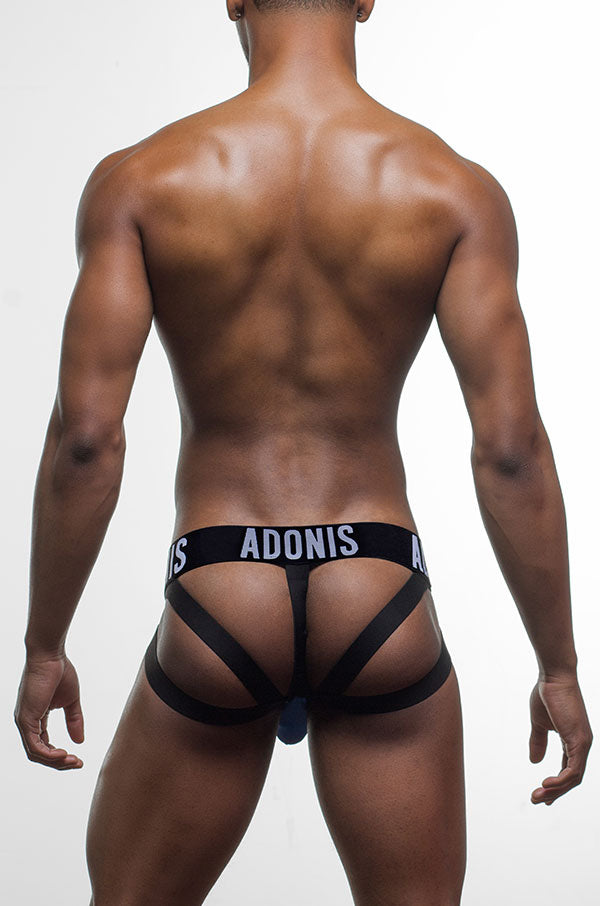 Double-Strap Blue Jock/Thong