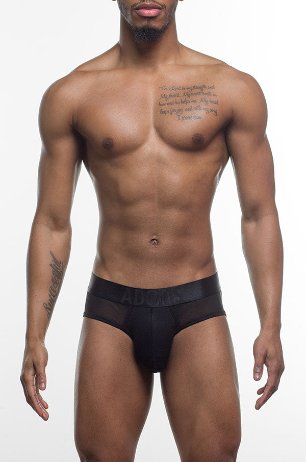 Sheer Peek-a-Boo Black Brief