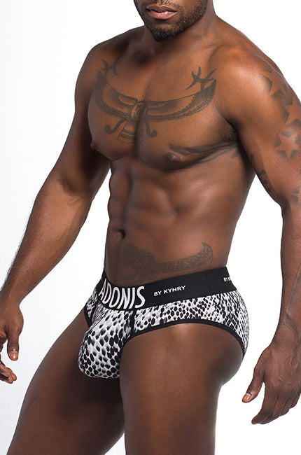 Snakeskin Print Black & White Brief