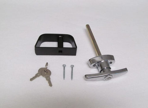 Chrome T-Handle Style Shed Door Lock Set 4 1/2""