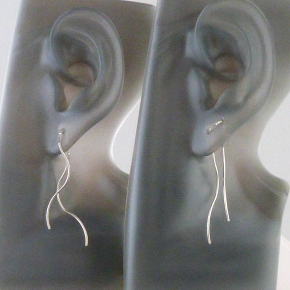 Sterling Silver Wave threader earring