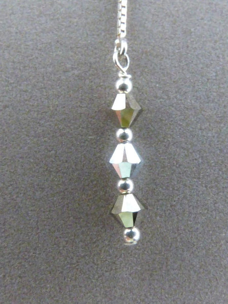 Sterling Silver Silvery Crystal Threader