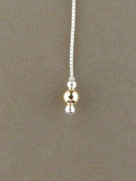 Sterling Silver theader with gold bead